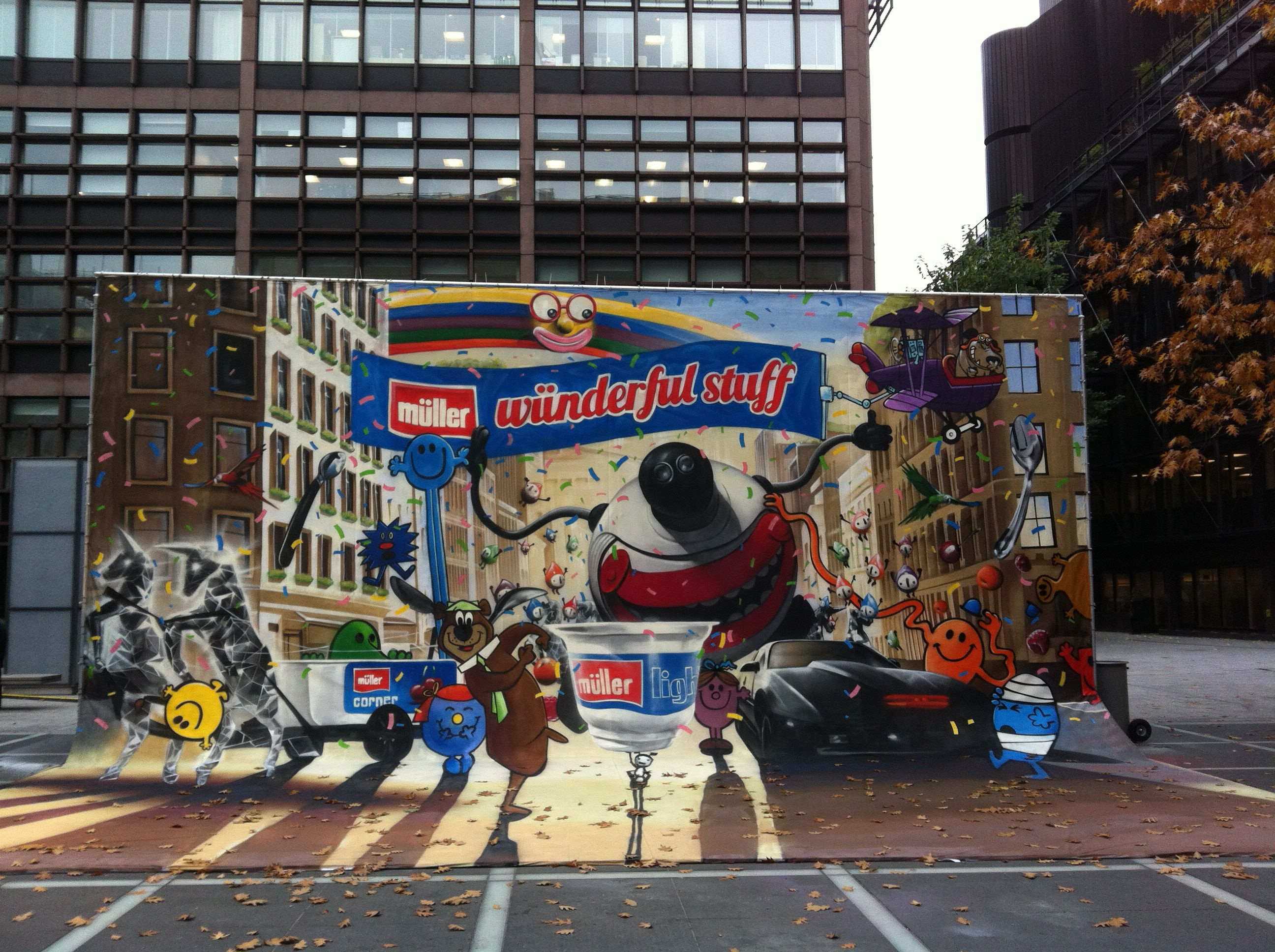 Street advertising services creates the worlds first 3d photo realistic graffiti advertising for muller and its wunderful stuff