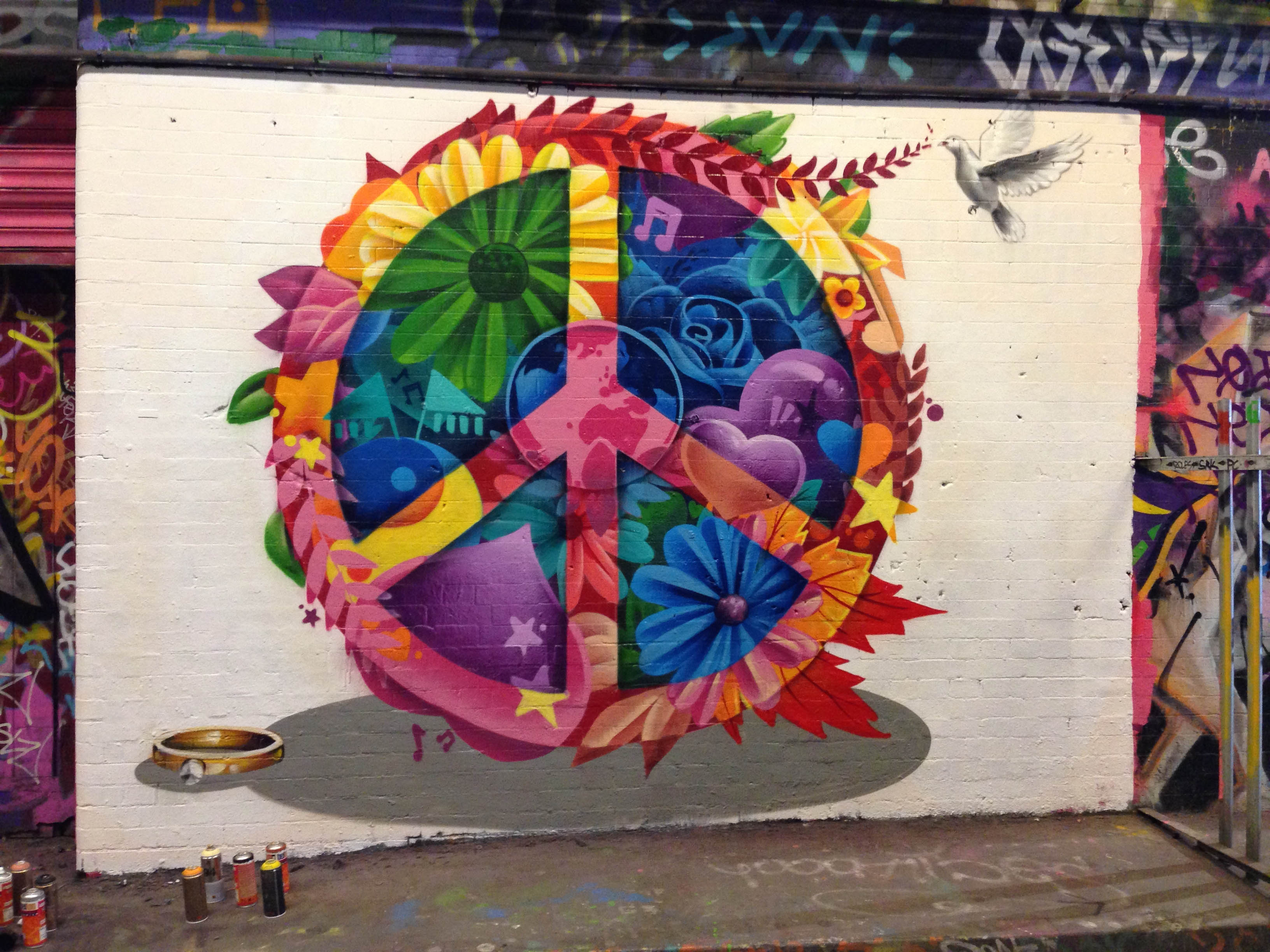 Unilever asked us to create a stunning piece of graffiti to celebrate world peace day we painted a stunning piece based around our interpretation of the